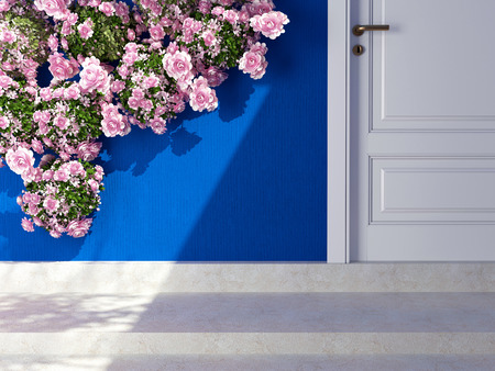 Beautiful roses in front of blue wall. Entrance of a house. photo