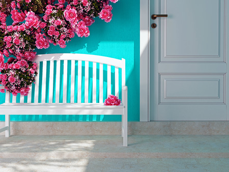 front porch: Front view of a wooden white door on a blue house. Beautiful roses and bench on the porch. Entrance of a house.