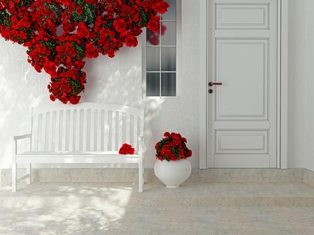 paredes exteriores: Vista frontal de una puerta blanca de madera. Hermosas rosas rojas y un banco en el porche. Exterior de una casa.