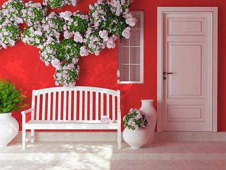 窓の赤い家の木製の白いドアのフロント ビュー。美しいバラの花とポーチのベンチ。家の外観。