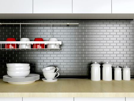 kitchen tools: Ceramic kitchenware on the wooden worktop. Black and white kitchen design.