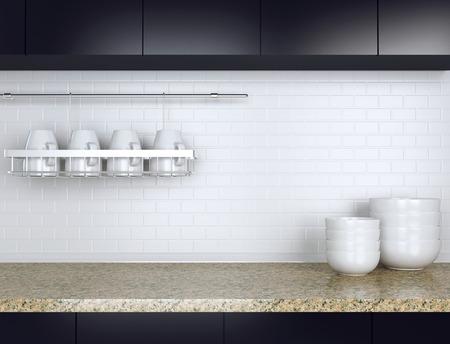 keuken restaurant: Keramisch keukengerei op het marmeren werkblad. Zwart en wit keuken ontwerp.