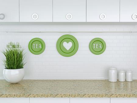 cuisine fond blanc: Ustensiles de cuisine en c�ramique sur le plan de travail en marbre. Blanc conception de cuisine. Banque d'images