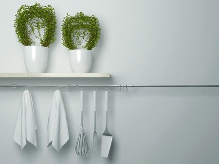 Steel spatulas, whisk and towel in front of wall. Flower pot on the wooden shelf, kitchen cooking utensils. Copy space over wall area.
