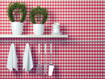 cooking implement: Steel spatulas, whisk and towel in front of wall. Flower pot on the wooden shelf, kitchen cooking utensils. Copy space over wall area.