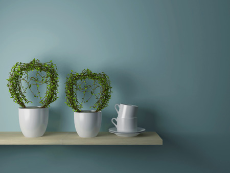 Plants in the vases and cups on the wooden shelf in front of gray wall.  photo