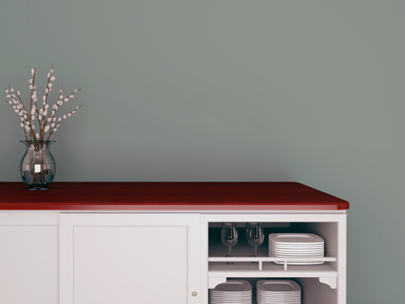 Conception de la cuisine classique. Vase en verre sur le plan de travail en bois. Banque d'images
