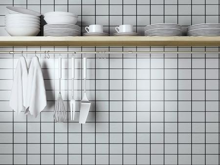Les plaques blanches sur le plateau en bois, cuisine ustensiles de cuisine. spatules en acier, fouetter et serviettes en face de paroi.