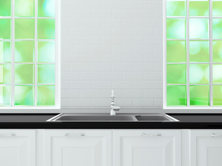 White classic kitchen furniture, sink, marble worktop in front of big light window. White and black kitchen design.