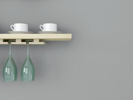 White ceramic kitchenware and wineglasses on the wooden shelf in front of gray wall.  photo