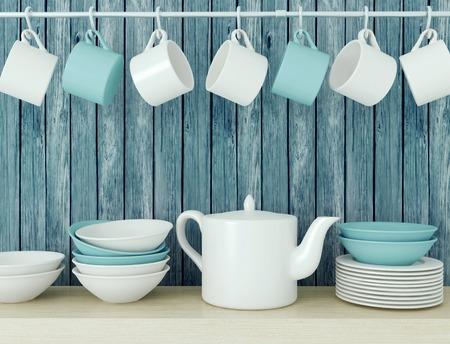 utensilios de cocina: Blanco utensilios de cocina de cerámica en el estante de madera delante de la pared azul de madera vieja. Foto de archivo