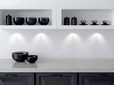 선반에 세라믹 주방 용품. 대리석 조리대. 흰색과 검은 부엌 디자인.