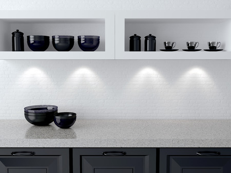 a room: Ceramic kitchenware on the shelf. Marble worktop. White and black kitchen design. Stock Photo