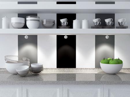 Modern kitchen design. Ceramic kitchenware on the marble worktop. Plates, cups on the shelf.