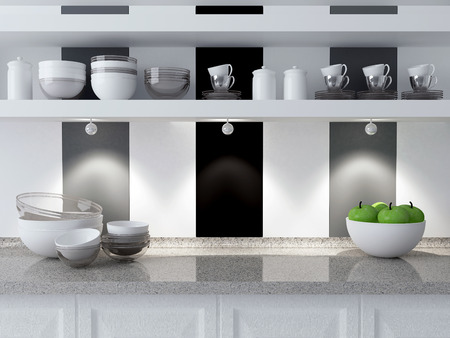 Modern kitchen design. Ceramic kitchenware on the marble worktop. Plates, cups on the shelf. photo