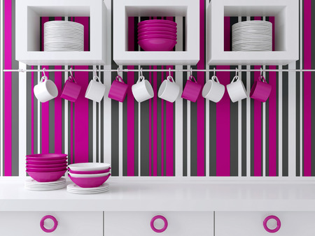 Modern kitchen design with white furniture. Ceramic kitchenware on the shelf in front of striped wall. Stock Photo