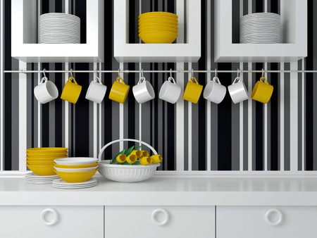 Modern kitchen design with white furniture. Ceramic kitchenware on the worktop in front of striped wall. 写真素材