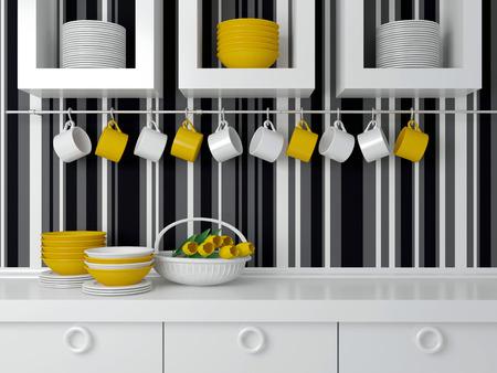 Modern kitchen design with white furniture. Ceramic kitchenware on the worktop in front of striped wall. Foto de archivo