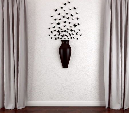 Modern interior design. Butterfly decoration on the living room wall. photo