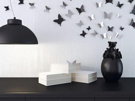 lamp house: Luxury black and white living room interior. Butterfly composition on the wall. Stock Photo