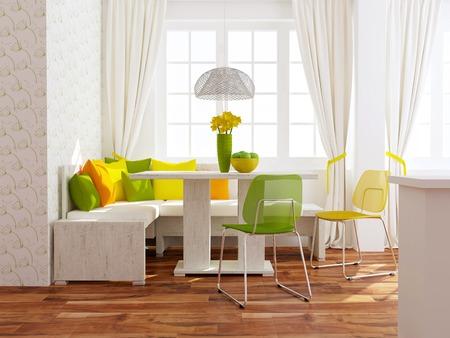 Modern interieur. Eigentijdse eetzaal.