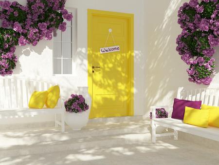 窓の白い家のドアのフロント ビュー。美しい紫色のバラとポーチのベンチ。家の入り口です。