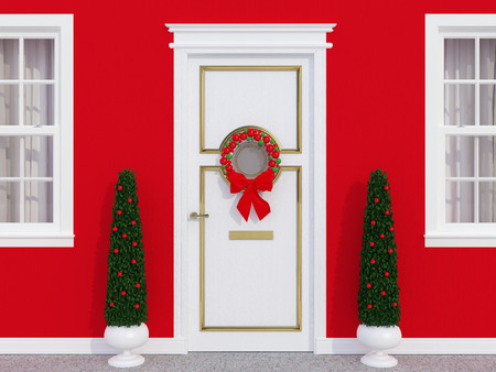 Classic front door decorated for the holiday season. photo
