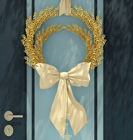 Wooden home door decorated with blue wreath for the holiday. photo