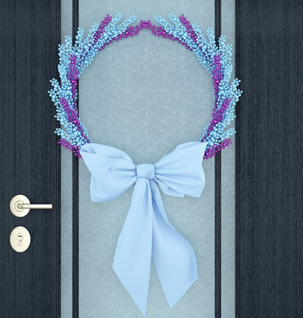 Wooden home door decorated with blue wreath for the holiday.