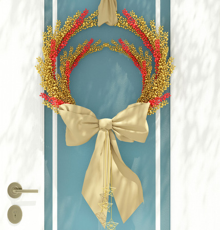 Wooden home door decorated with christmas wreath for the holiday. Reklamní fotografie