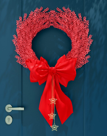Wooden home door decorated with red christmas wreath for the holiday.