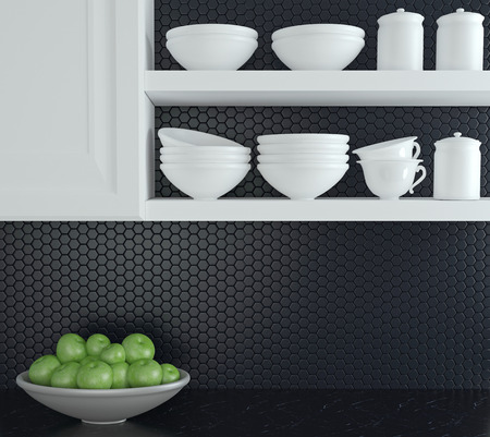 Fragment of interior of modern black and white kitchen.