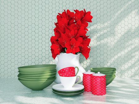 Ceramic kitchenware and flowers on the table.