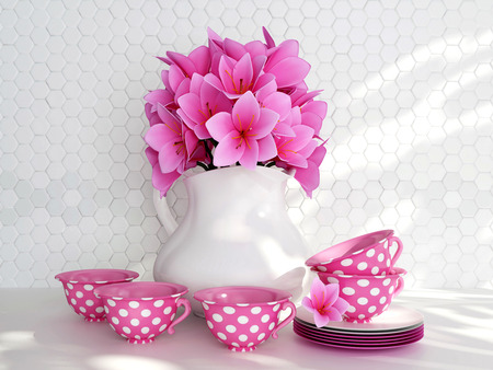 Kitchen still life. Ceramic vase with pink flowers and tea cups on the table in front of white till wall. Reklamní fotografie