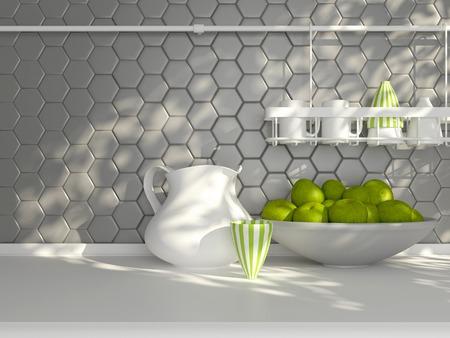 白のワークトップでキッチン用品。現代の壁タイルの前に陶器製の食器。 写真素材