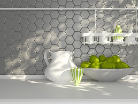 ceramic: Kitchen utensils on the white worktop. Ceramic kitchenware in front of modern wall tile.