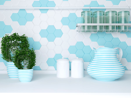 worktop: Kitchen utensils and plants on the white worktop. Ceramic and glass kitchenware.