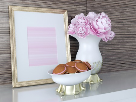 Kitchen decor. Gold frame, cookies and flowers on the shelf.