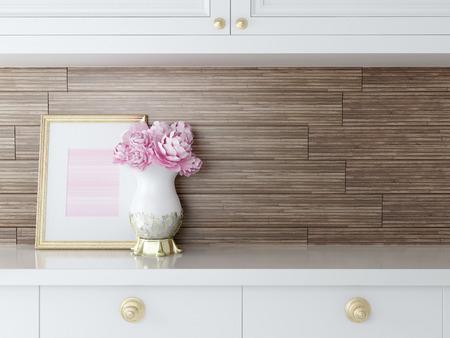 美しい白いキッチン デザイン。ゴールド フレームとワークトップの花です。