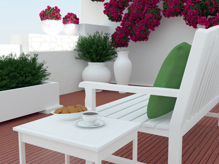 outdoor seating: Outdoor patio seating area with white wooden furniture.