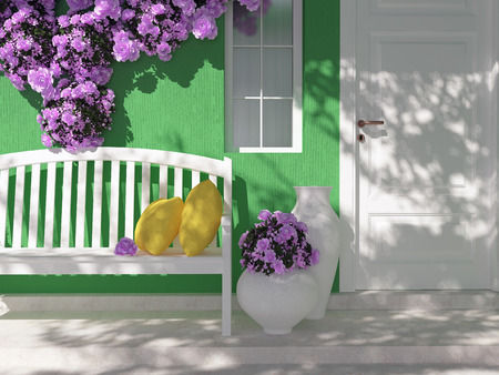 Front view of door on a green house with window. Beautiful purple roses and benches on the porch. Entrance of a house.