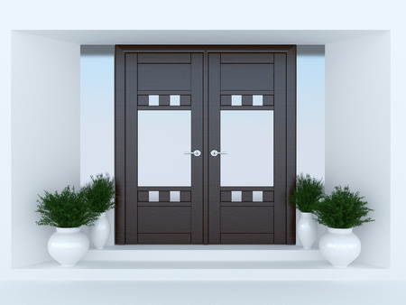 front or back yard: Wooden front door of modern house.