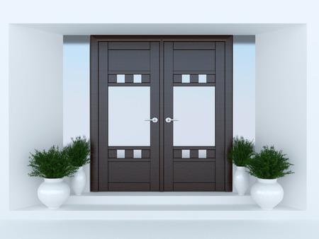 porch: Wooden front door of modern house.