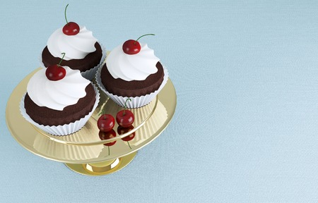 Chocolate cupcakes with ice-cream and cherries on a golden stand. Reklamní fotografie