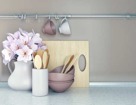 Wooden utensils and flowers on the white marble worktop. Reklamní fotografie