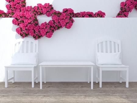 Buiten patio zithoek met witte houten meubilair.