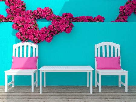 Buiten patio zithoek met witte houten meubels en roze rozen.