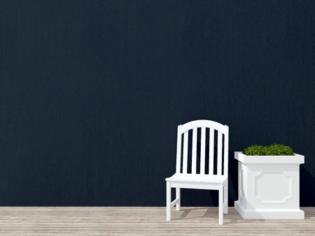 outdoor seating: Outdoor patio seating area with white wooden furniture, black wall.