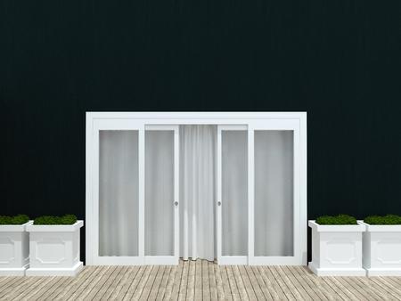 glass doors: Moder black house. Big glass exterior door.