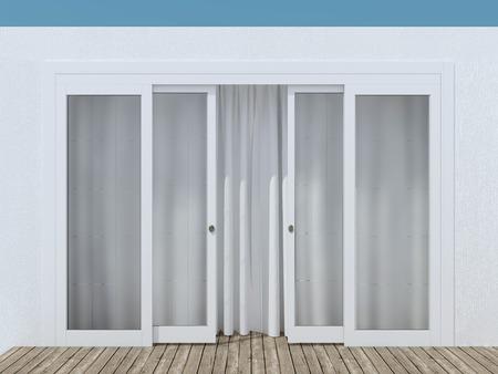 wood door: Moder porte d'entr�e en verre. Maison ext�rieur.